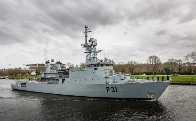 According to the Naval Service, for the past number of days LÉ Eithne has operated in support of HSE to prepare stocks of PPE for distribution throughout the Cork region. In addition Naval Service Reserve personnel have been instrumental in this effort. Above the flagship last week having departed Haulbowline in Cork Harbour is seen heading upriver on the Lee to Cork city where it remains on standby for other tasks when required.
