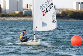 Atlee Kohl racing the Laser Radial	at the Royal Cork Yacht Club Dinghy frostbites