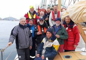 Ilen's crew on their arrival at Nuuk late this morning (Friday) - Gary Mac Mahon on left, Paddy Barry second right