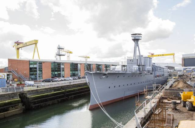 The recently refurbished HMS Caroline the only survivor of the Battle of Jutland 1916 has returned from H&W to her neighbouring berth in the Alexandra dry-dock, Belfast