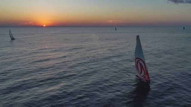 Less than five miles separate the seven boats in the Volvo Ocean Race on Day 2 of Leg 8