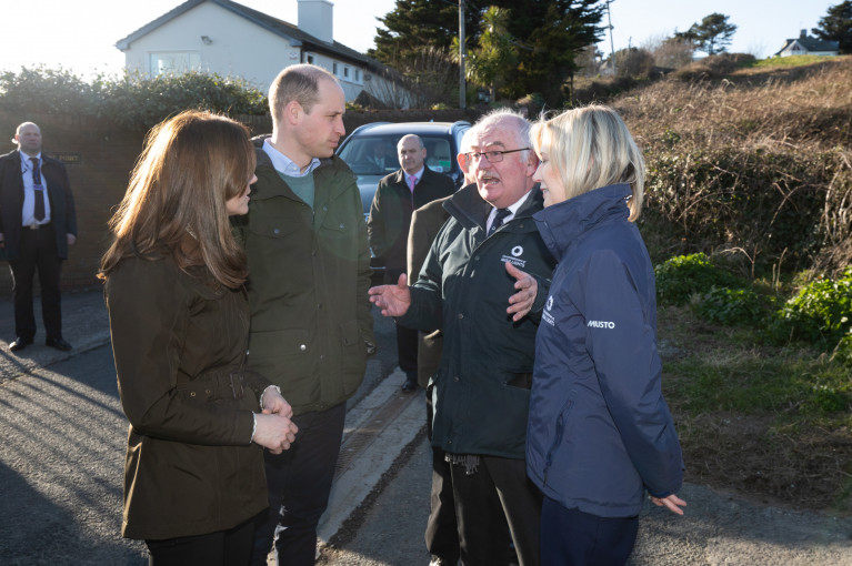 The Duke and Duchess of Cambridge with Kieran Crowley, Chairman and Yvonne Shields O'Connor, CEO, Irish Lights at the Baily Lighthouse on the Howth Peninsula in north Co. Dublin.