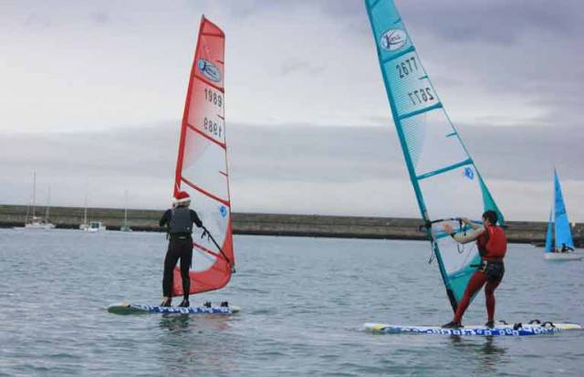 Two Kona windsurfers are part of the DMYC PY Frostbite fleet