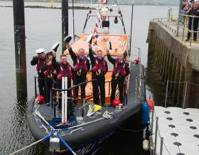 Some of the Lough Swilly RNLI Volunteer Lifeboat crew on board their Shannon class lifeboat Derek Bullivant