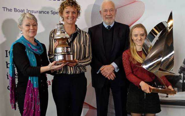 Winners, left to right, Tracy Edwards, Nikki Henderson, Sir Robin Knox-Johnston and Emily Mueller