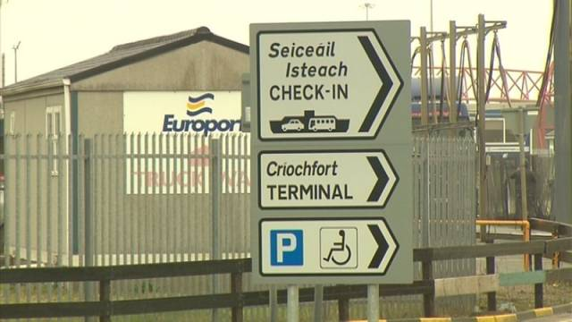 "Above signage taken in Rosslare Europort, which along with the Port of Cork according to MEP Liadh Ní Riada said the plan potentially uses these existing ports for ""Brexit preparedness"""