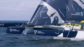 The 100ft Ultime 32 Maxi Edmond de Rothschild seems to have emerged unscathed from a close encounter with the Shingles Bank in the early stages of the Rolex Fastnet Race 2019, despite all those vulnerable appendages