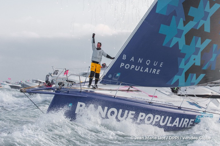 Armel Le Cleac'h winning the 2016-2017 Vendee Globe in January 2017, and setting a new 74-day record that now stands for another four years