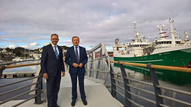 Minister of Agriculture, Food and the Marine Michael Creed with Minister of State Joe McHugh at the launch of the Small Craft Harbour in Killybegs, Co Donegal