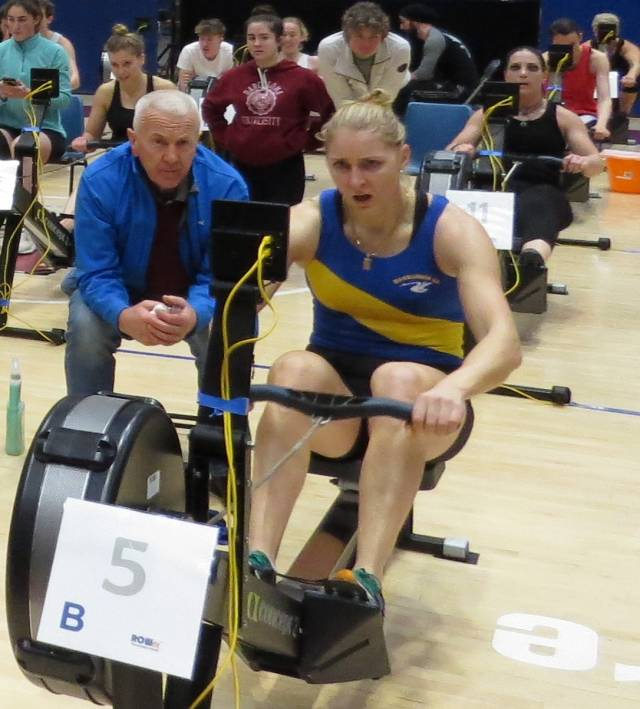Dominic Casey and Sanita Puspure at the Irish Indoor Rowing Championships.