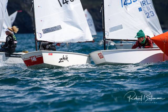 There was some tight racing off Kinsale in the first day of racing in the Optimist Nationals yesterday. Scroll down for Junior fleet racing gallery