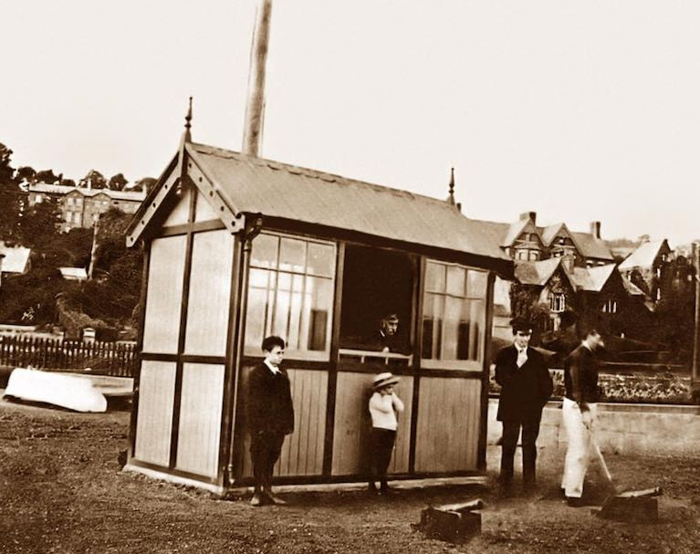 A photo provided by MBSC member John Hegarty of the race hut at Monkstown circa 1922