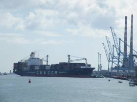 Nicolas Delmas (2,207 TEU) is one of the largest ever containerships to dock in Dublin and is seen departing Peel Port's operated MTL Terminal, Ringsend