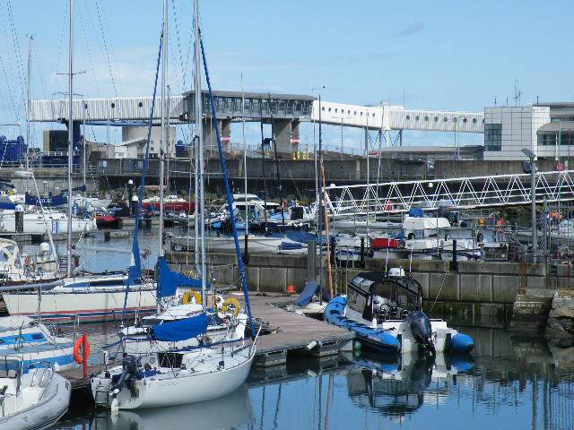 Passenger infrastructure since demolished at the former Stena HSS ferry terminal in Dun Laoghaire Harbour. In the foreground the 820 boat capacity marina.