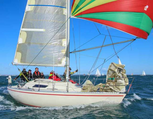 Peter Richardson's Dubious of the Royal St. George Yacht Club will race as part of the first 16-boat start for the third race of the DBSC Turkey Shoot on Sunday