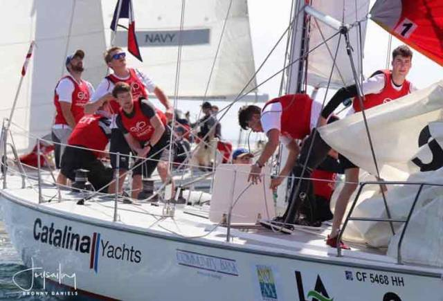 The CIT Irish team in training on the Catalina yacht used in this week's Los Angeles Harbour Cup Invitational Regatta