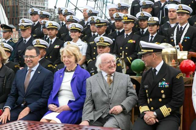 Visiting the Mexican Navy's tall ship, the Cuauhtémoc, was President of Ireland, Michael D. Higgins accompanied by his wife Sabina, on the first day of the ship's five-day visit to Dublin. Pictured are Ambassador of Mexico to Ireland, H.E. Miguel Malfavón, Sabina Higgins, Michael D. Higgins and Commanding Officer Captain Carlos Gorraez Meraz