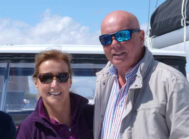 Mary and George Coombes aboard their new Lagoon 450S Realta Bheag