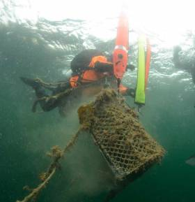 "During operation ""Stone and Pots"", a team of six expert technical divers joined by cameramen and biologists, recovered 57 lost lobster pots"