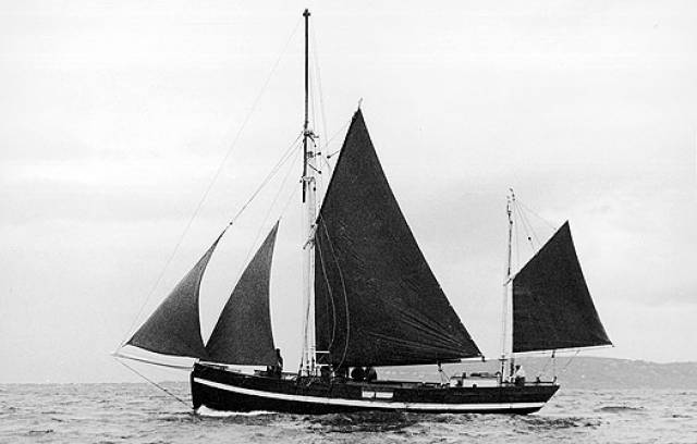 The Conor O'Brien-designed, Baltimore-built 56ft ketch Ilen back in Irish waters in 1998 for the first time since 1927. She is seen here in Dublin Bay and will be afloat again this summer in time for the  25th Glandore Classic Boat Festival in West Cork