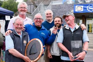 John Gordon (holding trophy on left) with the 'X-Rated' crew from Mayo Sailing Club
