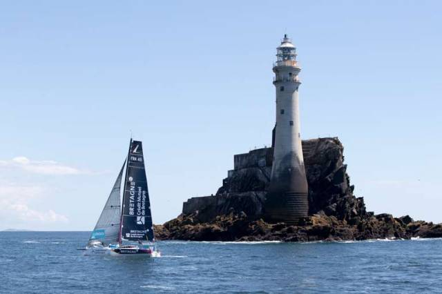 Tom Laperche, skipper of the Figaro yacht Bretagne passes the Fastnet Rock on his way to the Kinsale finish