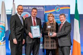 Irish Water Safety deputy chief executive and marketing manager Roger Sweeney with the IWAI's John Dolan and Kay Baxter, and Minister of State Sean Canney