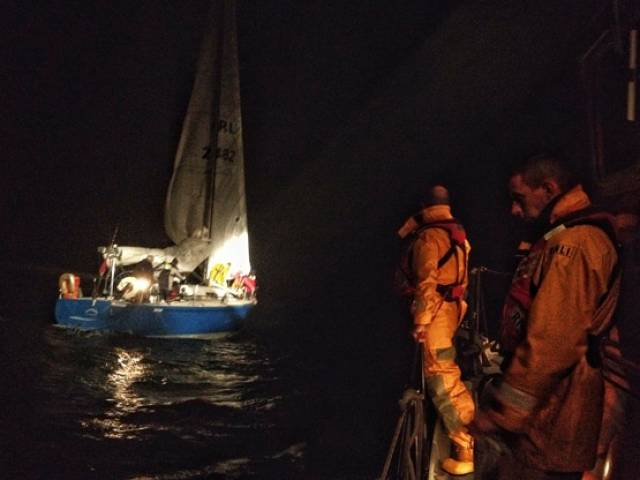 Dunmore East RNLI assist the stricken yacht outside the harbour
