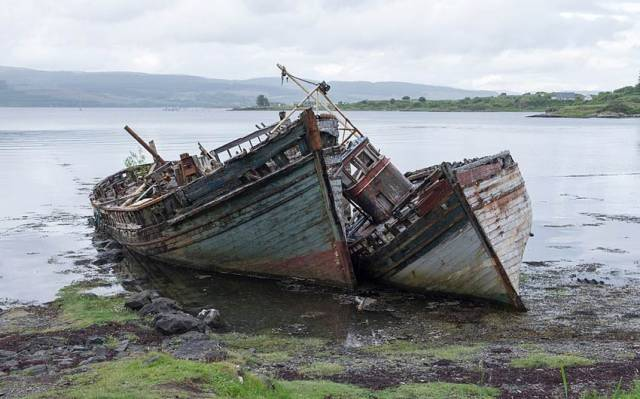 Abandoned boats on the Isle of Mull in Scotland