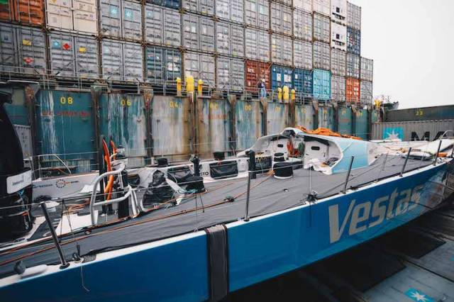 The Vestas yacht being shipped straight to Auckland for repairs ahead of rejoining for Leg 7