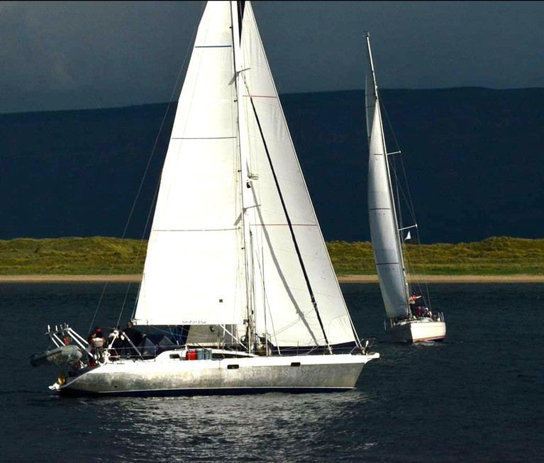 She's coming home – Garry Crothers' Ovni 435 Kind of Blue in Lough Foyle, which she left in 2017 for a long ocean cruise which has now had to be reduced to a Transatlantic circuit