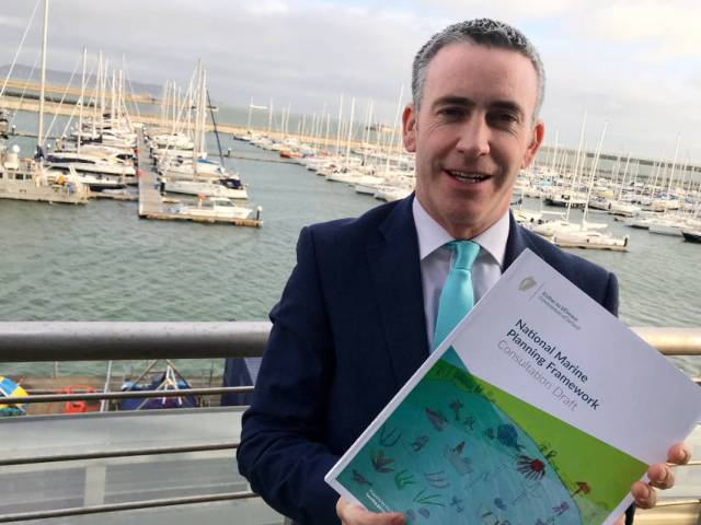 Minister of State Damien English launches the draft NMPF at Dun Laoghaire Marina