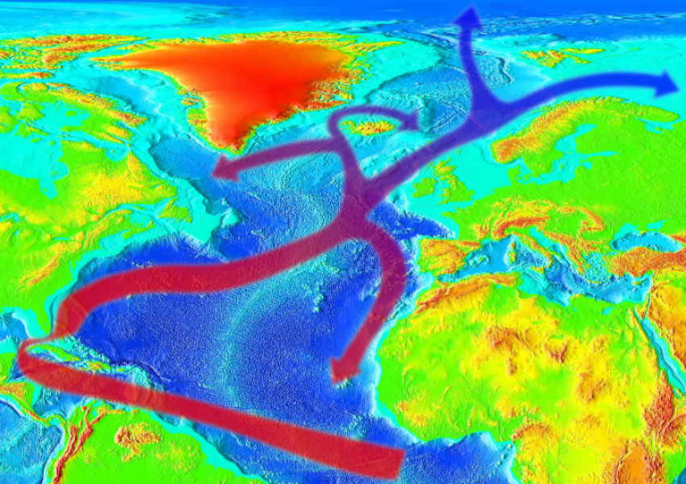 Evolution of the Gulf Stream to the west of Ireland continuing as the North Atlantic Drift