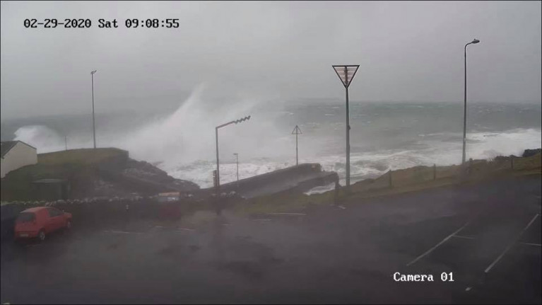 Heavy seas as waves hit Roonagh Pier, Co. Mayo