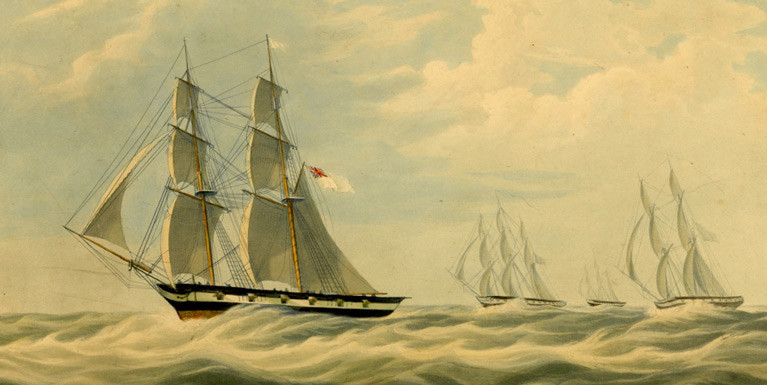 The Earl of Belfast's brig-rigged superyacht Waterwitch successfully working up to windward of the Royal Navy's crack Channel Squadron in an offshore sailing test in 1834
