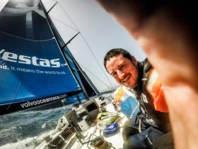 Brian Carlin takes a selfie while on deck with Team Vestas Wind in the previous Volvo Ocean Race