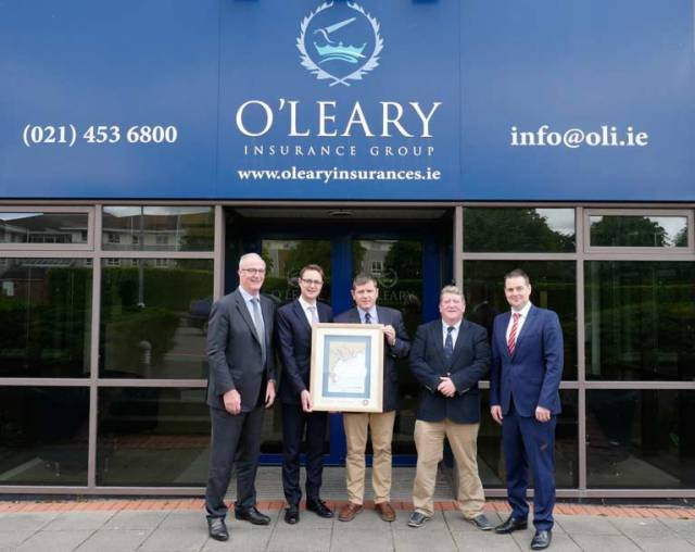 Anthony O'Leary, Managing Director O'Leary Insurance Group, Ronan Goggin Managing Director O'Leary Life, Mike Walsh O'Leary Life - Sovereigns Cup Regatta Director, Dave Sullivan Vice Commodore Kinsale Yacht Club & Brian Goggin Director O'Leary Life
