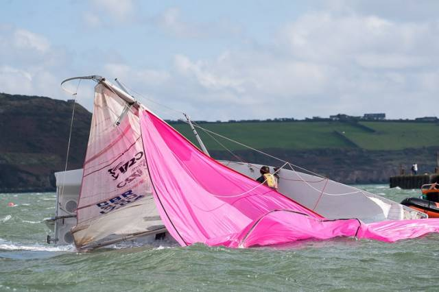 A 1720 struggles in the 30-knot winds for today's CH Marine League race in Cork Harbour. Scroll down for photo gallery