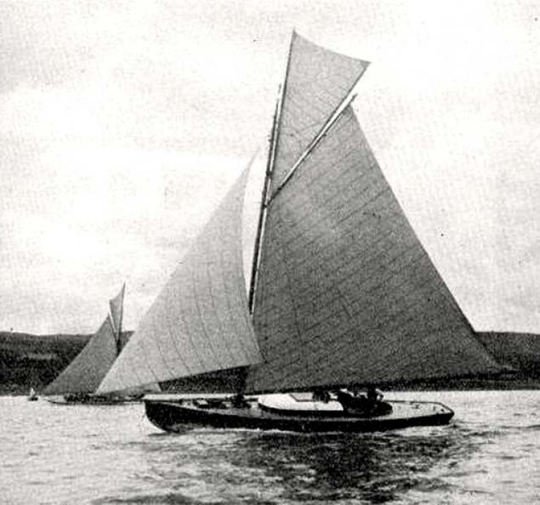 Vilia in 1910, as designed by amateur naval architect Vincent Craig with gaff sloop rig. In 1991 under a gaff yawl rig, she was one of the smallest participants in the Tall Ships race from Cork to Belfast