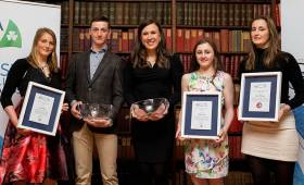 Pictured (L-R) last night at the Volvo Sailing Awards at the RDS, Dublin were Youth Sailor of the Year Nominee Aoife Hopkins, Winner Ewan MacMahon, Sailor of the Year Annalise Murphy,  Youth Sailor of the Year Nominee Sophie Crosbie and Youth Sailor of the Year Nominee Nicole Hemeryck. Scroll down for photo gallery