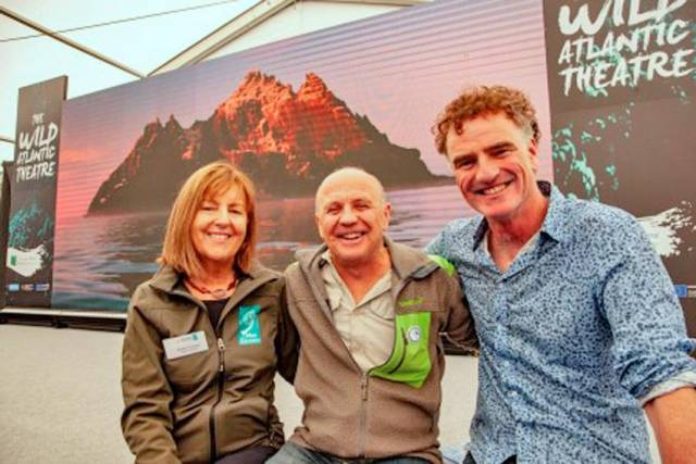 Evelyn Cusack, Doug Allan and Ken O'Sullivan, speakers in the Marine Institute's Wild Atlantic Theatre at SeaFest 2019