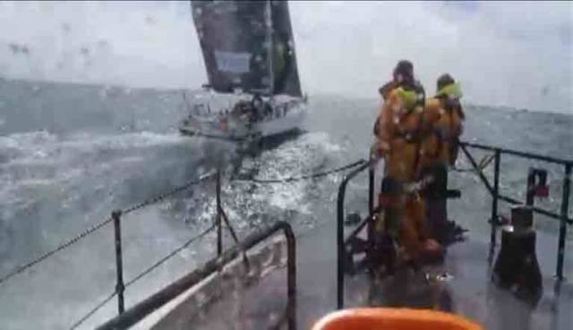 The RNLI coxswain brought the Rosslare lifeboat alongside the yacht to fix an accidentally activated EPIRB