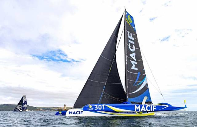 Last gasp victory – the Ultime 32 Gitana XVII aka Maxi Edmond de Rothschild (left) snatches a 58 second victory from Macif to establish a new Mulithull Course record in the Rolex Fastnet Race 2019