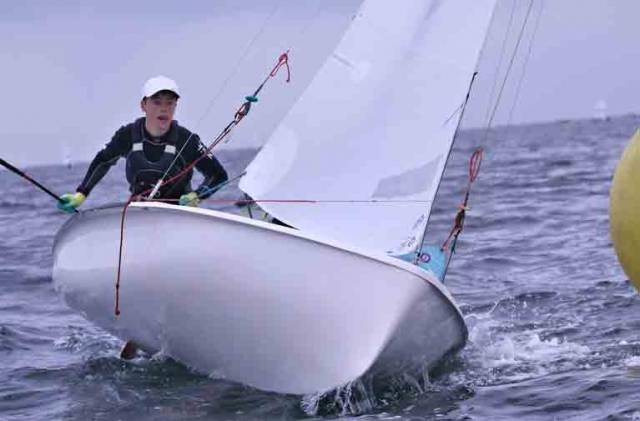 A 420 dinghy competitor at the ISA Youth Championships on Belfast Lough