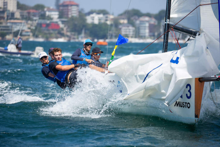 Niall Malone and team racing under the Royal Prince Alfred burgee at the Musto Youth Internationals in Sydney late last month