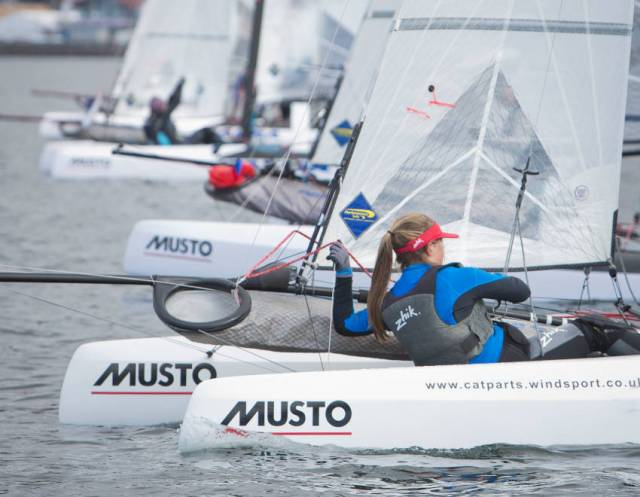 Nacra 15s ready for practice ahead of the 2018 RYA Youth Nationals this past April