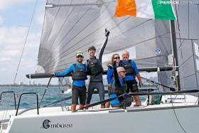 "They won by 31 points with a crew of all the talents. Conor  Clarke's lineup aboard the all-conquering Embarr included (left to  right) American 470 Olympic sailors Stuart McNay and David  Hughes, while the home crew were Aoife English, Maurice ""Prof""  O'Connell (seated), and Conor Clarke. Photo Pierrick Contin    A runaway victory of 31 points clear in a fleet of 72 boats in the  International Melges 24 World Championship in Florida made  Conor Clarke of Dun Laoghaire's Royal Irish YC the Afloat.ie  ""Sailor of the Month"" for November."