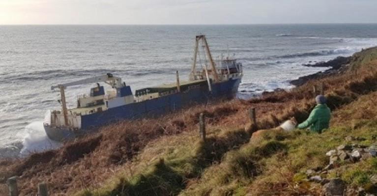 Cargoship Alta aground on rocks west of Ballycotton, Co. Cork