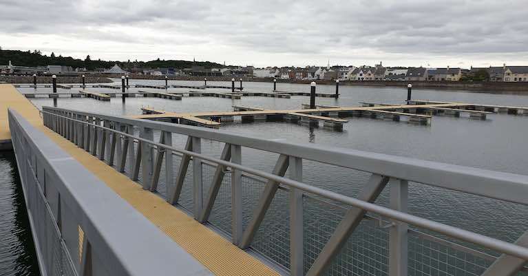 The new Inland and Coastal marina berths at Stornoway Harbour Marina in The Hebrides