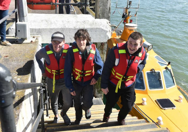 Three of the Irish crew from the SV Tenacious arrive in Cobh
